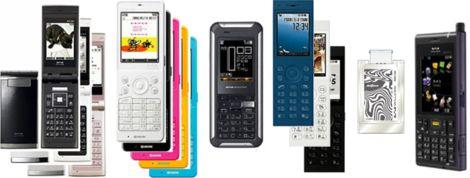 '08ウィルコム春モデル.jpg(左からWX330K、HONEY BEE(WX331K)、X PLATE(WX130S)、9+(WS009KE)、WS014IN、WX321J-Z)